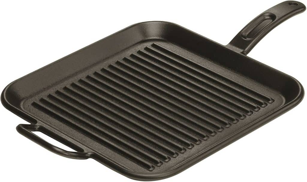 "Best Pancake Griddle For Gas Stove: Lodge 12"" (Dual Handles) Square Cast Iron Grill Pan"